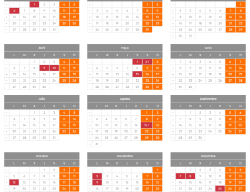 Calendario laboral 2020 en PLUSER